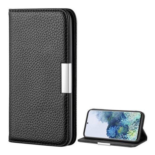 Samsung Galaxy S20 / S20 5G SM-G980 / G981, Oldalra nyíló tok, bőrhatású, stand, elegáns fémcsat, mágneses, fekete
