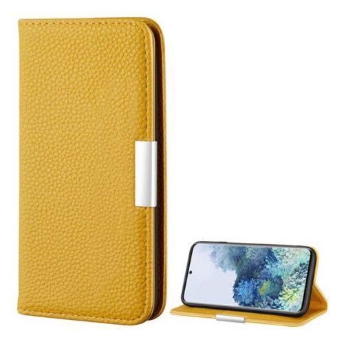 Samsung Galaxy S20 / S20 5G SM-G980 / G981, Oldalra nyíló tok, bőrhatású, stand, elegáns fémcsat, mágneses, sárga