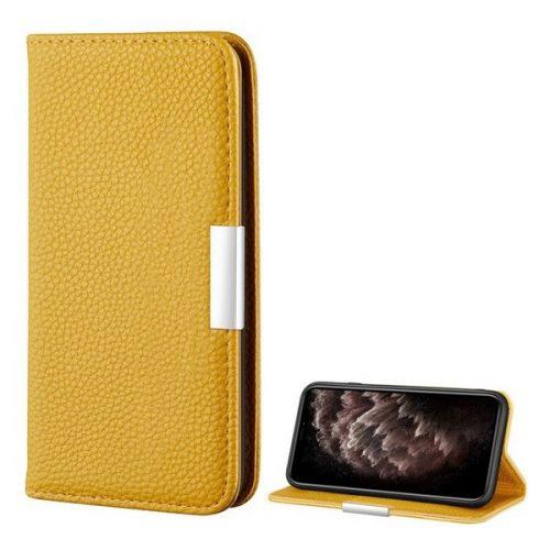 Apple iPhone 12 Pro Max, Oldalra nyíló tok, bőrhatású, stand, elegáns fémcsat, mágneses, sárga