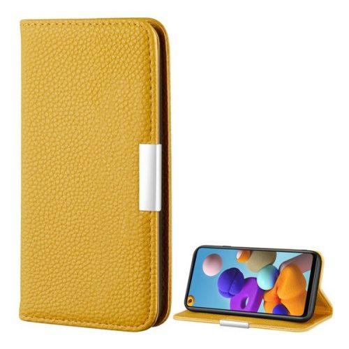 Samsung Galaxy A21s SM-A217F, Oldalra nyíló tok, bőrhatású, stand, elegáns fémcsat, mágneses, sárga