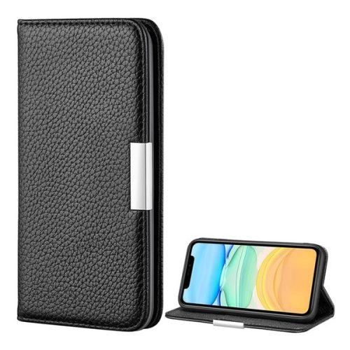Apple iPhone 12 Mini, Oldalra nyíló tok, bőrhatású, stand, elegáns fémcsat, mágneses, fekete