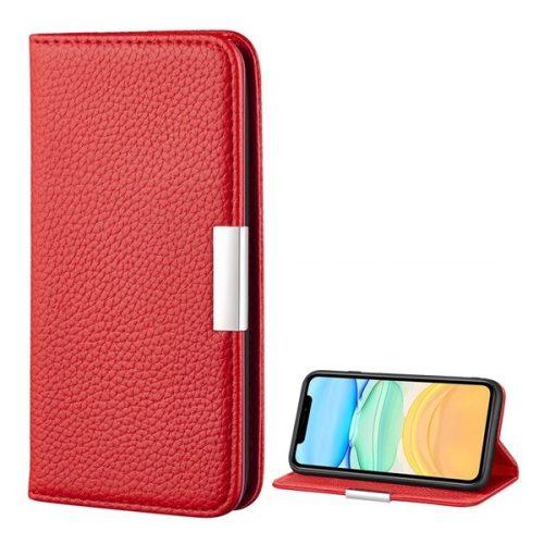 Apple iPhone 12 Mini, Oldalra nyíló tok, bőrhatású, stand, elegáns fémcsat, mágneses, piros