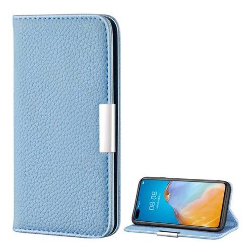 Huawei P40 Pro, Oldalra nyíló tok, bőrhatású, stand, elegáns fémcsat, mágneses, világoskék