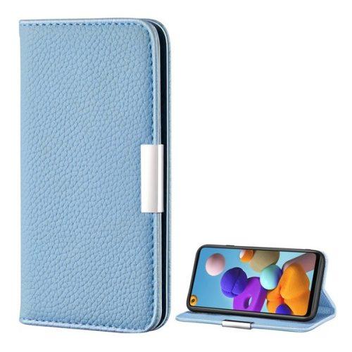 Samsung Galaxy A21s SM-A217F, Oldalra nyíló tok, bőrhatású, stand, elegáns fémcsat, mágneses, világoskék