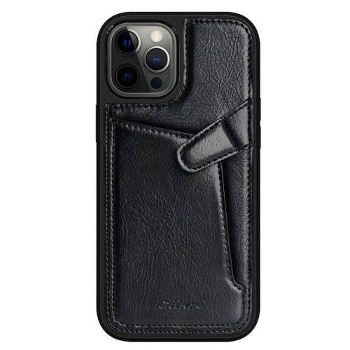Apple iPhone 12 / 12 Pro, Műanyag hátlap védőtok, valódi bőr, Nillkin Aoeg, fekete