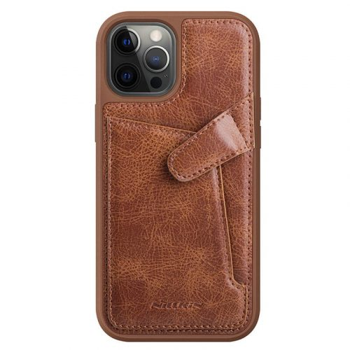Apple iPhone 12 / 12 Pro, Műanyag hátlap védőtok, valódi bőr, Nillkin Aoeg, barna