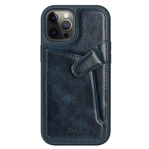 Apple iPhone 12 / 12 Pro, Műanyag hátlap védőtok, valódi bőr, Nillkin Aoeg, sötétkék