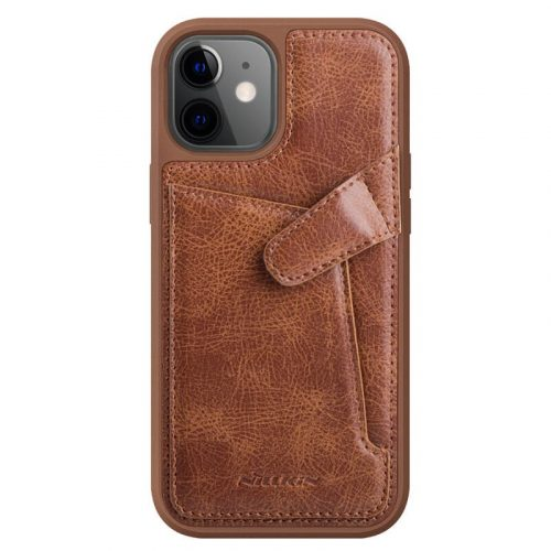 Apple iPhone 12 Mini, Műanyag hátlap védőtok, valódi bőr, Nillkin Aoeg, barna