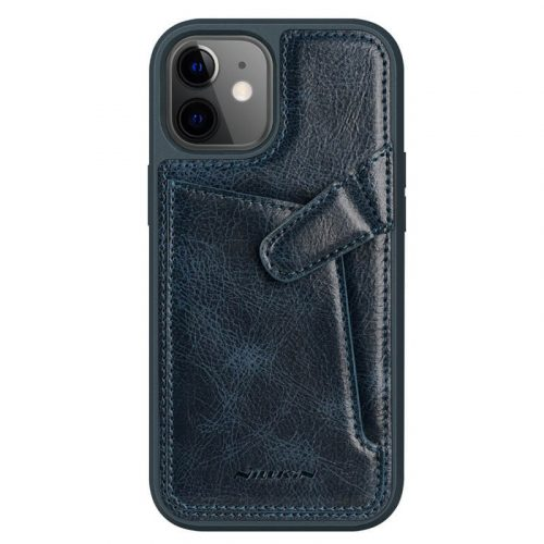 Apple iPhone 12 Mini, Műanyag hátlap védőtok, valódi bőr, Nillkin Aoeg, sötétkék