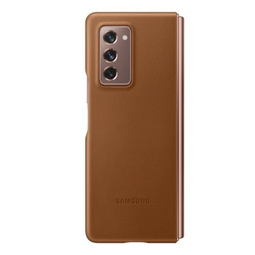 Samsung Galaxy Z Fold2 5G SM-F916B, Műanyag hátlap védőtok, bőr hátlap, barna, gyári