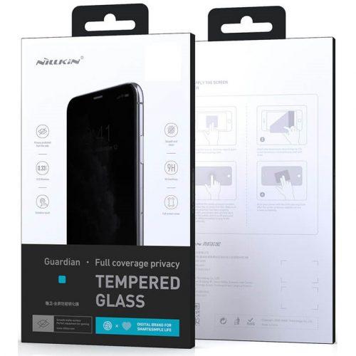 Apple iPhone 12 Pro Max, Kijelzővédő fólia, ütésálló fólia (az íves részre is!), Tempered Glass (edzett üveg), Full Glue, Antispy Glass, Nillkin Guardian, fekete