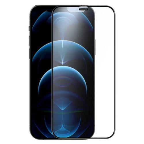 Apple iPhone 12 / 12 Pro, Kijelzővédő fólia, ütésálló fólia (az íves részre is!), Tempered Glass (edzett üveg), Full Glue, Matt, Nillkin, Fog Mirror, fekete