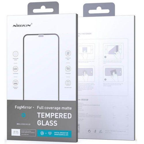 Apple iPhone 12 Pro Max, Kijelzővédő fólia, ütésálló fólia (az íves részre is!), Tempered Glass (edzett üveg), Full Glue, Matt, Nillkin, Fog Mirror, fekete