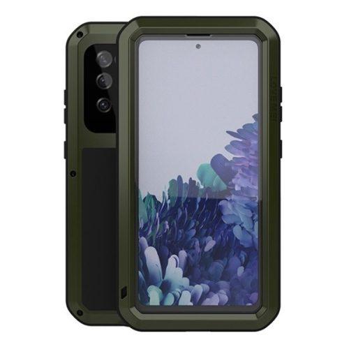 Samsung Galaxy S20 FE / S20 FE 5G SM-G780 / G781, Szilikon tok, Love Mei Powerful Defender, ütésálló, sötétzöld