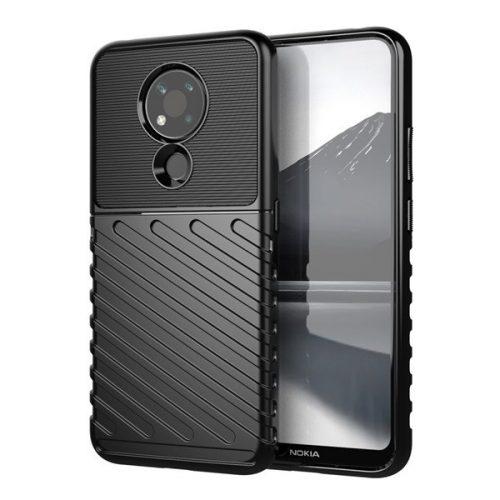 Nokia 3.4, Szilikon tok, közepesen ütésálló, domború csíkos minta, fekete
