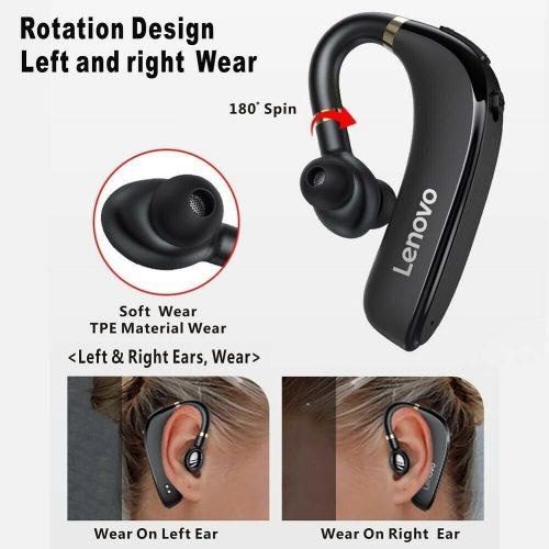 Bluetooth fülhallgató, v5.0, hangerő szabályzó, zajszűrővel, Lenovo HX106, fekete, gyári