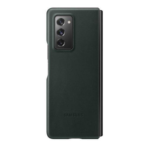 Samsung Galaxy Z Fold2 5G SM-F916B, Műanyag hátlap védőtok, bőr hátlap, sötétzöld, gyári