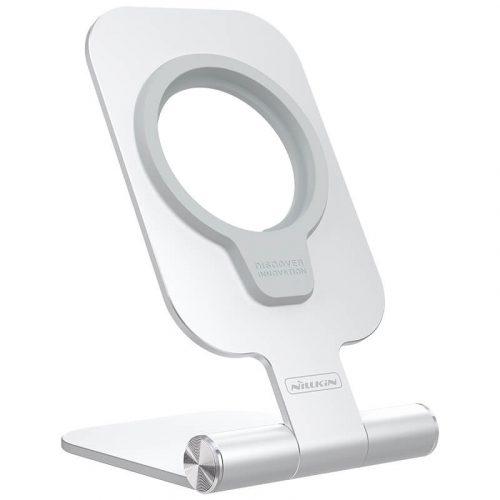 Magsafe asztali töltőpad tartó állvány, Magsafe töltőkkel kompatibilis, Nillkin MagLock Foldable Stand, ezüst