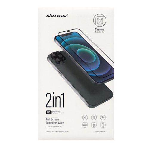 Apple iPhone 12 Mini, Kijelzővédő fólia, ütésálló fólia (az íves részre is!), Tempered Glass (edzett üveg), + kameravédő fólia, 3D Full Cover, Nillkin Amazing 2in1, fekete