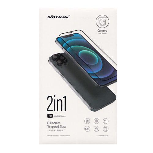 Apple iPhone 12 Pro Max, Kijelzővédő fólia, ütésálló fólia (az íves részre is!), Tempered Glass (edzett üveg), + kameravédő fólia, 3D Full Cover, Nillkin Amazing 2in1, fekete