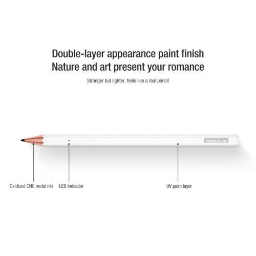 Aktív kapacitív ceruza, állítható érzékenység, iPad-hez, Nillkin Crayon 2, fehér