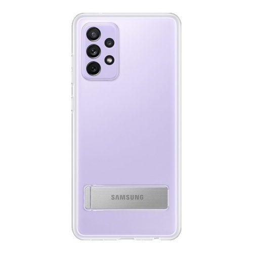 Samsung Galaxy A72 / A72 5G SM-A725F / A726B, Műanyag hátlap védőtok, dupla rétegű, gumírozott, kitámasztóval, átlátszó, gyári