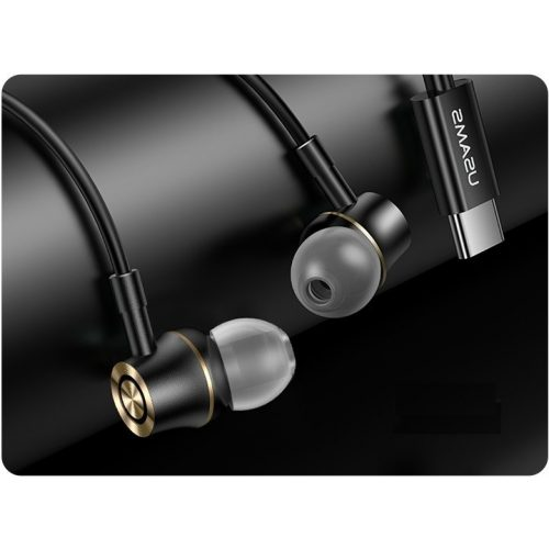 Vezetékes sztereó fülhallgató, USB Type-C, mikrofon, felvevő gomb, hangerő szabályzó, Usams Metal Earphone EP-43, fekete
