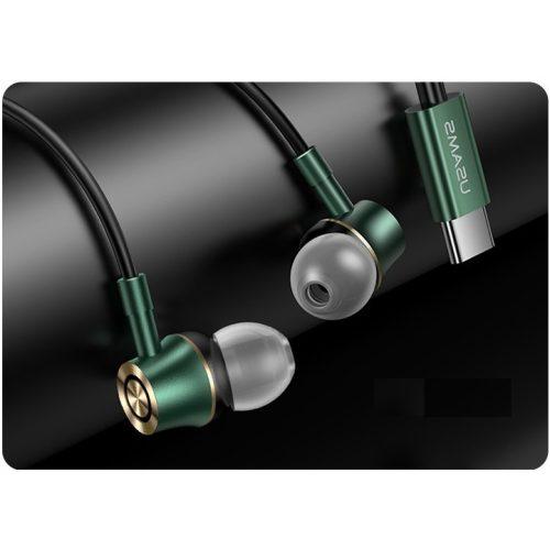 Vezetékes sztereó fülhallgató, USB Type-C, mikrofon, felvevő gomb, hangerő szabályzó, Usams Metal Earphone EP-43, zöld