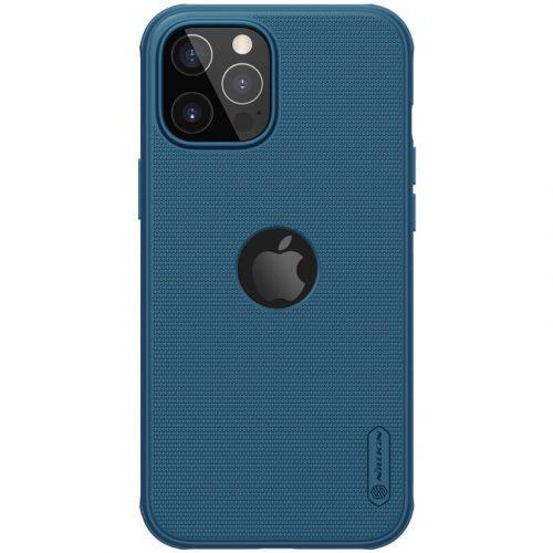 Apple iPhone 12 Pro Max, Műanyag hátlap védőtok, szilikon keret, légpárnás sarok, Magsafe töltővel kompatibilis, logó kivágással, Nillkin Super Frosted Pro Magnetic, sötétkék