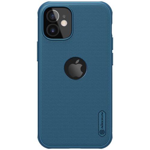 Apple iPhone 12 Mini, Műanyag hátlap védőtok, szilikon keret, légpárnás sarok, Magsafe töltővel kompatibilis, logó kivágással, Nillkin Super Frosted Pro Magnetic, sötétkék