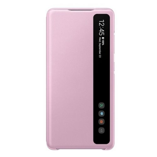Samsung Galaxy S20 FE / S20 FE 5G SM-G780 / G781, Oldalra nyíló tok, hívás mutatóval, Clear View Cover, lila, gyári