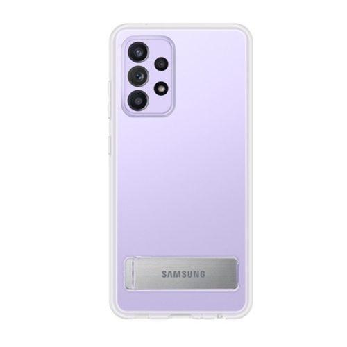 Samsung Galaxy A52 / A52 5G SM-A525F / A526B, Műanyag hátlap védőtok, dupla rétegű, gumírozott, kitámasztóval, átlátszó, gyári