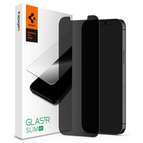 Apple iPhone 12 Mini, Kijelzővédő fólia, ütésálló fólia (az íves részre is!), Tempered Glass (edzett üveg), Spigen Glastr Slim HD Privacy, Clear