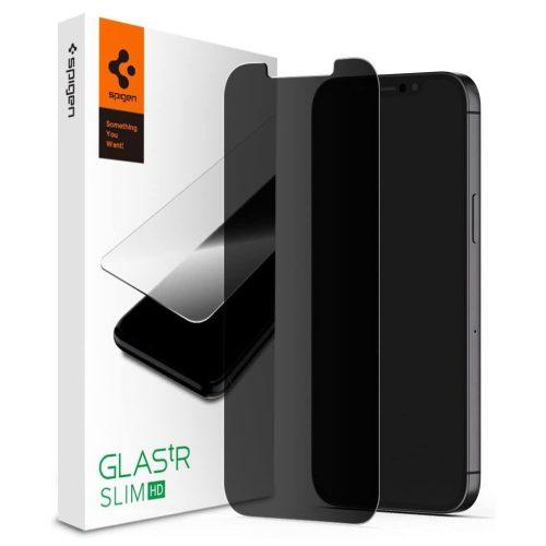 Apple iPhone 12 / 12 Pro, Kijelzővédő fólia, ütésálló fólia (az íves részre is!), Tempered Glass (edzett üveg), Spigen Glastr Slim HD Privacy, Clear
