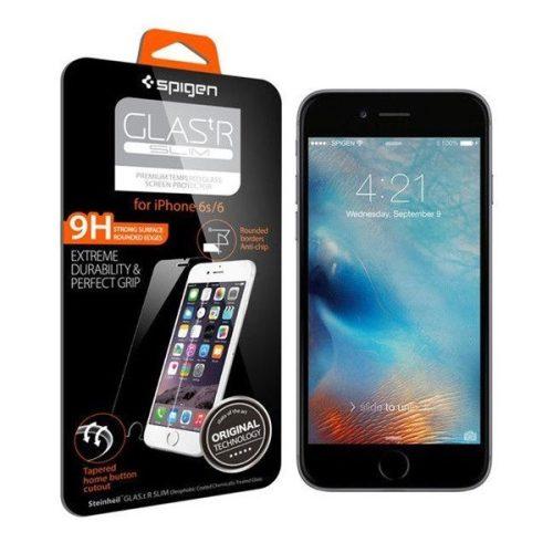 Apple iPhone 6 / 6S, Kijelzővédő fólia, (az íves részre NEM hajlik rá!), Tempered Glass (edzett üveg), Spigen Glastr Slim, Clear