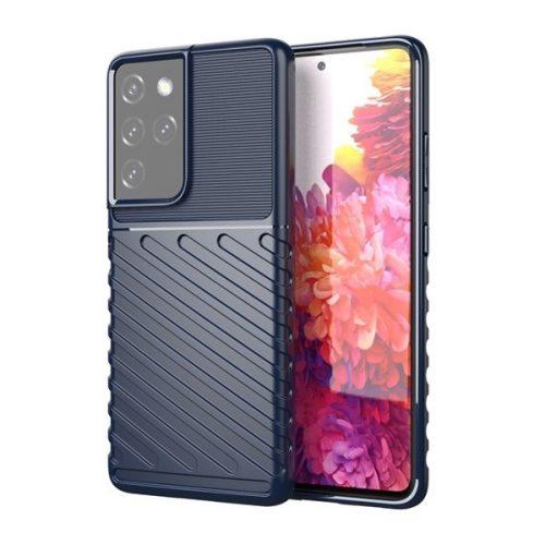 Samsung Galaxy S21 Ultra 5G SM-G998, Szilikon tok, közepesen ütésálló, domború csíkos minta, sötétkék