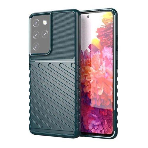 Samsung Galaxy S21 Ultra 5G SM-G998, Szilikon tok, közepesen ütésálló, domború csíkos minta, zöld