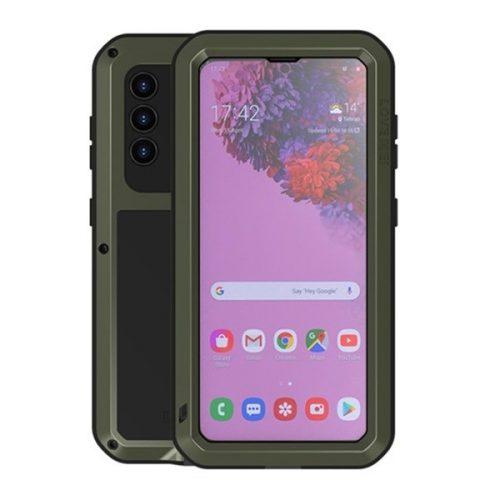 Samsung Galaxy S21 5G SM-G991, Szilikon tok, Love Mei Powerful Defender, ütésálló, sötétzöld