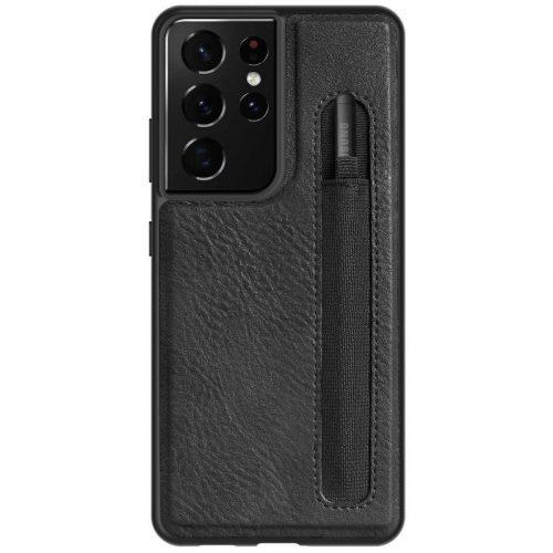 Samsung Galaxy S21 Ultra 5G SM-G998, Műanyag hátlap védőtok, valódi bőr, Nillkin Aoeg, fekete