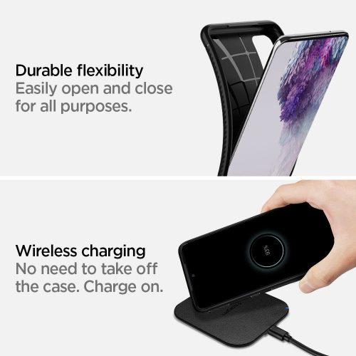 Xiaomi Redmi Note 10 / Note 10S, Szilikon tok, Spigen Rugged Armor, karbon minta, fekete