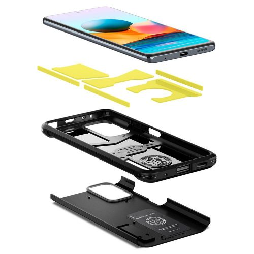 Xiaomi Redmi Note 10 Pro, Szilikon tok + műanyag hátlap, kitámasztóval, Spigen Tough Armor, fekete