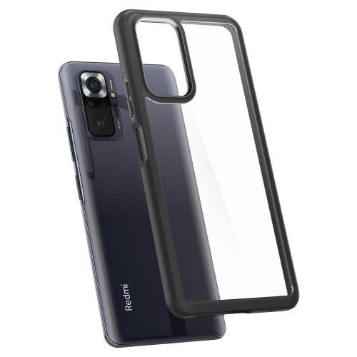 Xiaomi Redmi Note 10 Pro, Műanyag hátlap védőtok + szilikon keret, Spigen Ultra Hybrid, átlátszó/fekete