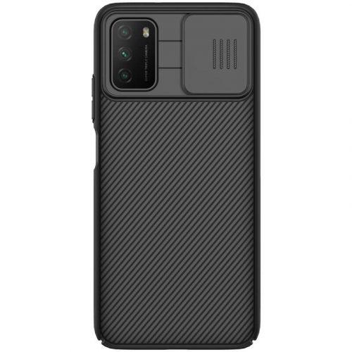 Xiaomi Poco M3, Műanyag hátlap védőtok, közepesen ütésálló, kameravédelem, csíkos minta, Nillkin CamShield, fekete