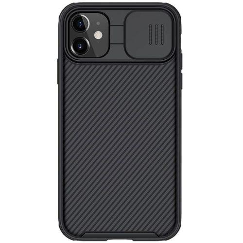 Apple iPhone 11, Műanyag hátlap + szilikon keret, közepesen ütésálló, kameravédelem, Magsafe töltővel kompatibilis, csíkos minta, Nillkin CamShield Pro Magnetic, fekete