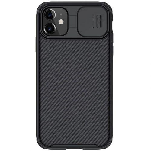 Apple iPhone 11, Műanyag hátlap + szilikon keret, közepesen ütésálló, kameravédelem, csíkos minta, Nillkin CamShield Pro, fekete