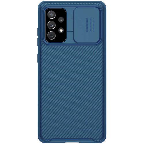 Samsung Galaxy A72 / A72 5G SM-A725F / A726B, Műanyag hátlap + szilikon keret, közepesen ütésálló, kameravédelem, csíkos minta, Nillkin CamShield Pro, sötétkék