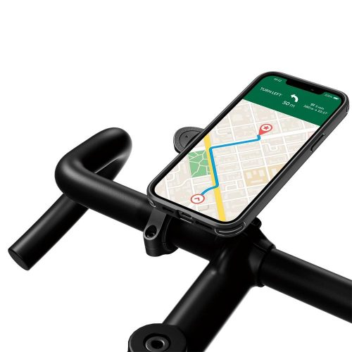 Apple iPhone 12 / 12 Pro, Szilikon tok, közepesen ütésálló, légpárnás sarok, Spigen Gearlock kerékpáros tartóval kompatibilis, Spigen Gearlock Mount Case, fekete