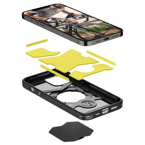 Apple iPhone 12 Pro Max, Szilikon tok, közepesen ütésálló, légpárnás sarok, Spigen Gearlock kerékpáros tartóval kompatibilis, Spigen Gearlock Mount Case, fekete