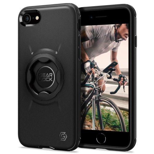 Apple iPhone 7 / 8 / SE (2020), Szilikon tok, közepesen ütésálló, légpárnás sarok, Spigen Gearlock kerékpáros tartóval kompatibilis, Spigen Gearlock Mount Case, fekete