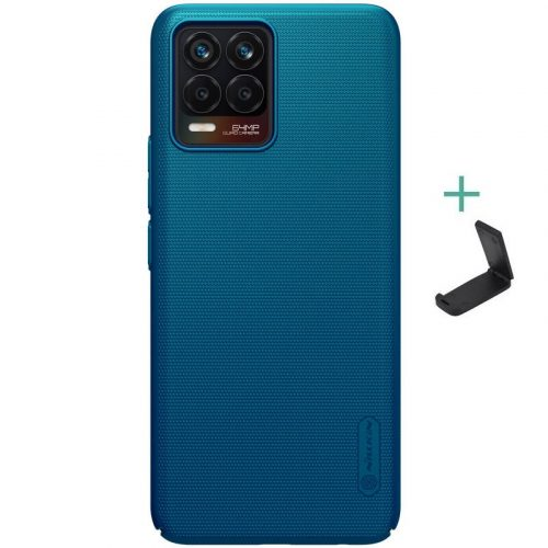 Realme 8 / 8 Pro, Műanyag hátlap védőtok, stand, Nillkin Super Frosted, zöldes-kék